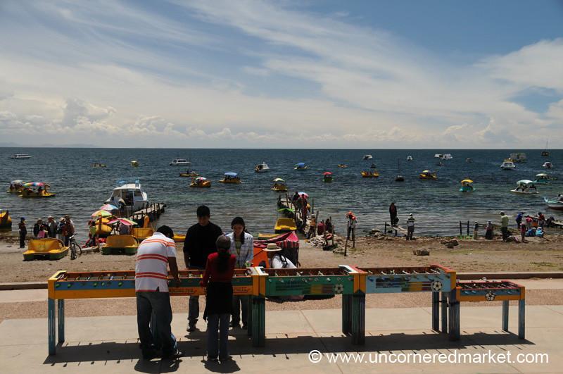 A Little Foosball by Lake Titicaca - Copacabana, Bolivia