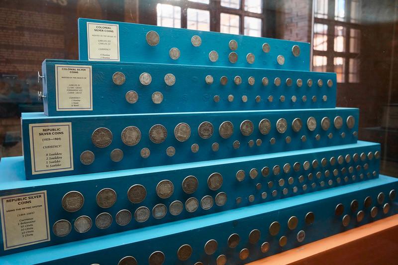 Coins at Casa de la Moneda in Potosi, Bolivia