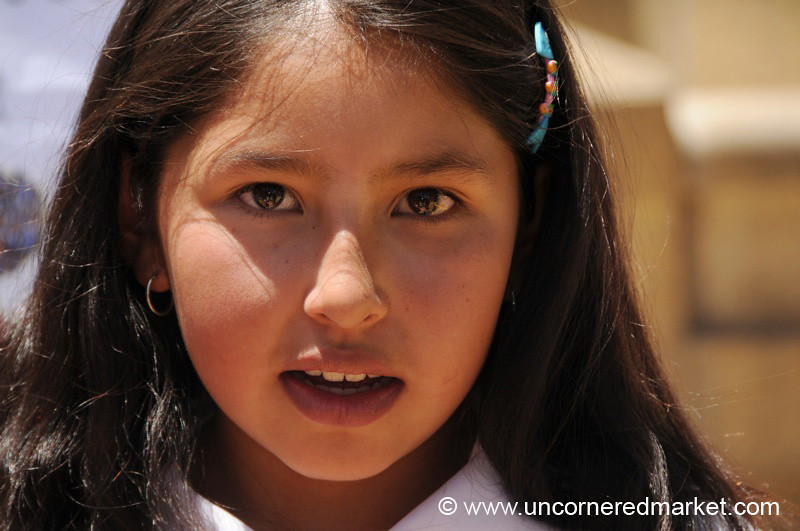 Schoolgirl at Handwashing Fair - Potosi, Bolivia