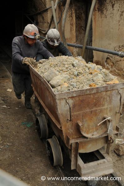 Manually Pushing the Wagon - Potosi, Bolivia