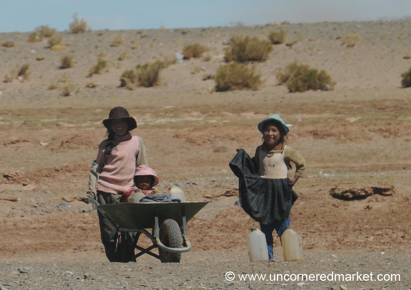 Wheelbarrow Children - Salar Tour, Bolivia