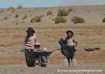 Wheelbarrow Children - Salar Tour, Bolivia