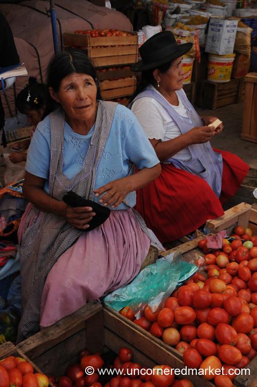 Selling Tomatoes at Mercado Campesino - Tarija, Bolivia
