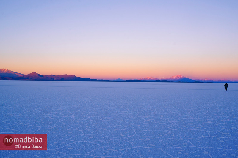 Salar de Uyuni at sunrise in Bolivia