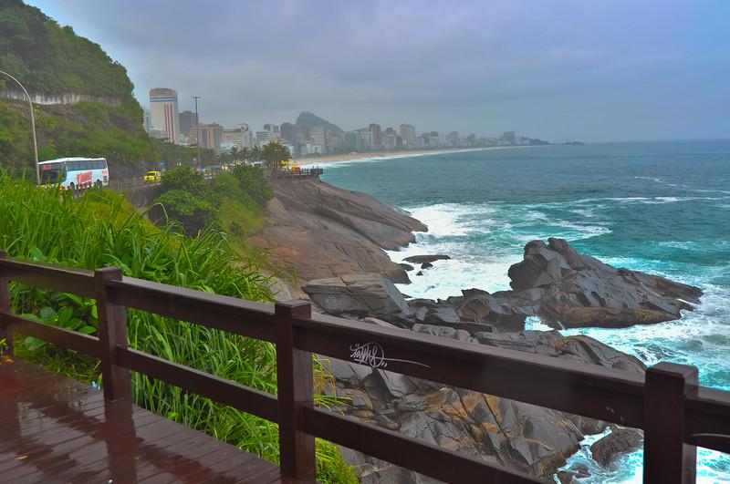 Rio de Janeiro on a rainy day, near Copacabana Beach