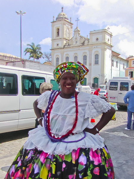 Entrepreneurial Woman in Costume Charges $1 per Photo, Salvador, Brazil