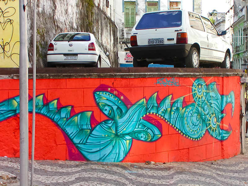 Wall Mural on elevated roadway. Salvador, Brazil