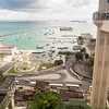 a view over Salvador's (capital of Bahia, Brazil) historical low city, with Elevador Lacerda in the foreground