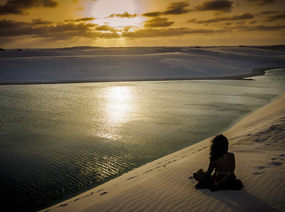 Amazing sunset at Lencois Maranhenses National Park.