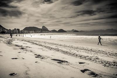 Copacabana beach life scene.