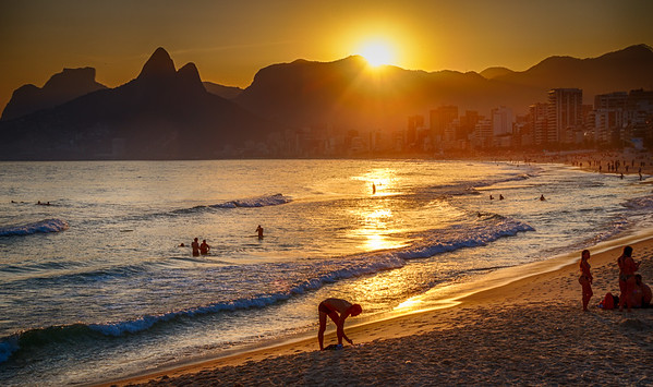 Stunning sunset at Ipanema beach shot from Arpoador Rock.