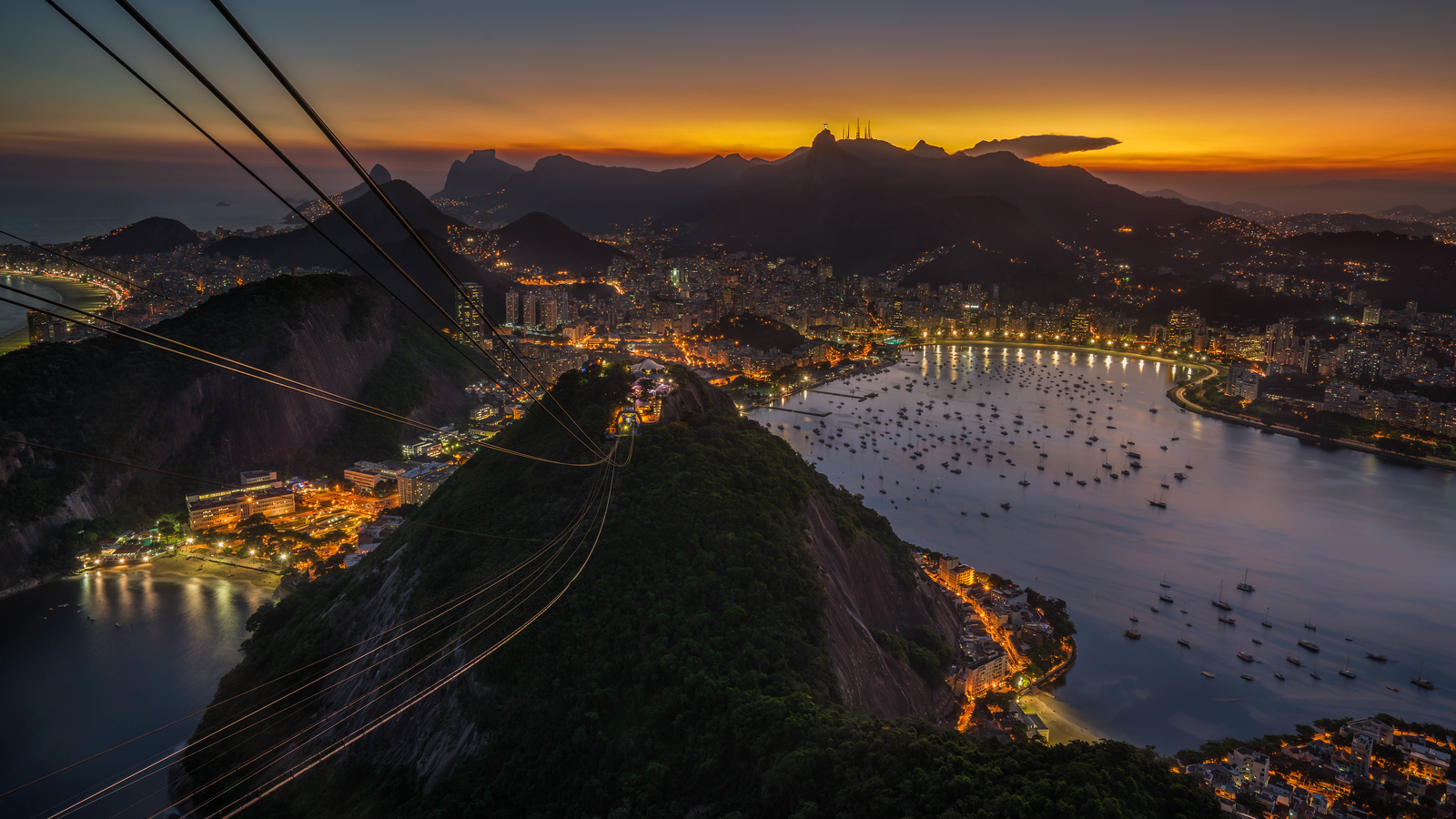 Sunset from Sugarloaf Mountain in Rio, Brazil