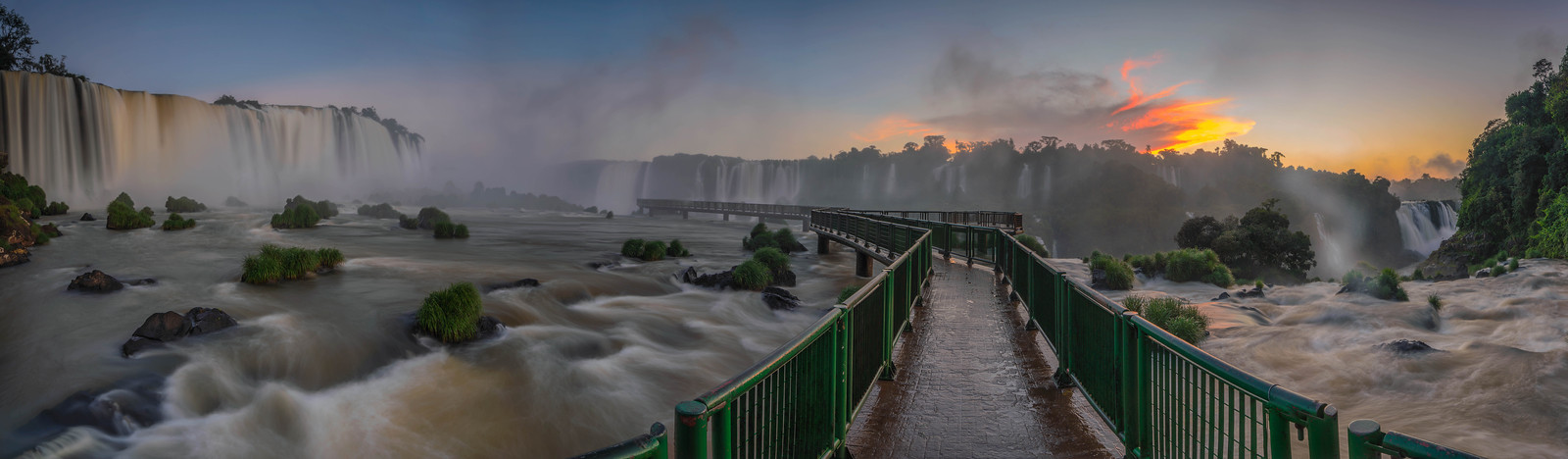 Sunset at Iguassu Falls, Brazil