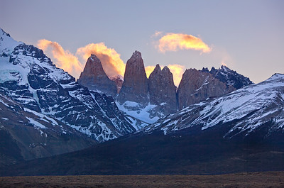 Torres del Paine at sunset