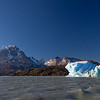 Cumbre Cuernos & iceberg in Lago Grey