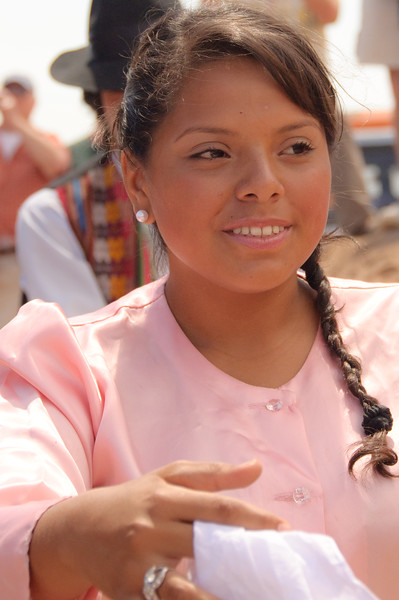 Young Woman Dancer in Ceremony near Ponchochille, Chile
