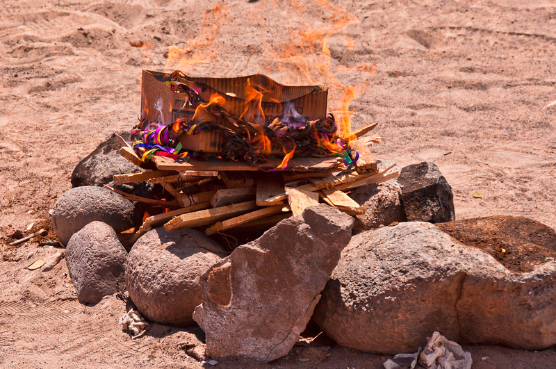 Fire used in ceremony after receiving blessings from shaman