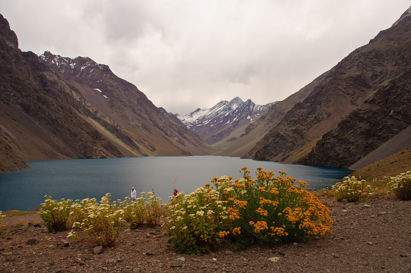Alpine Lake in Chilean Andes Mountains