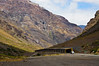 On the road to Portillo, Chile in Andes Mountains.  Bridges are for protection from avalanches.
