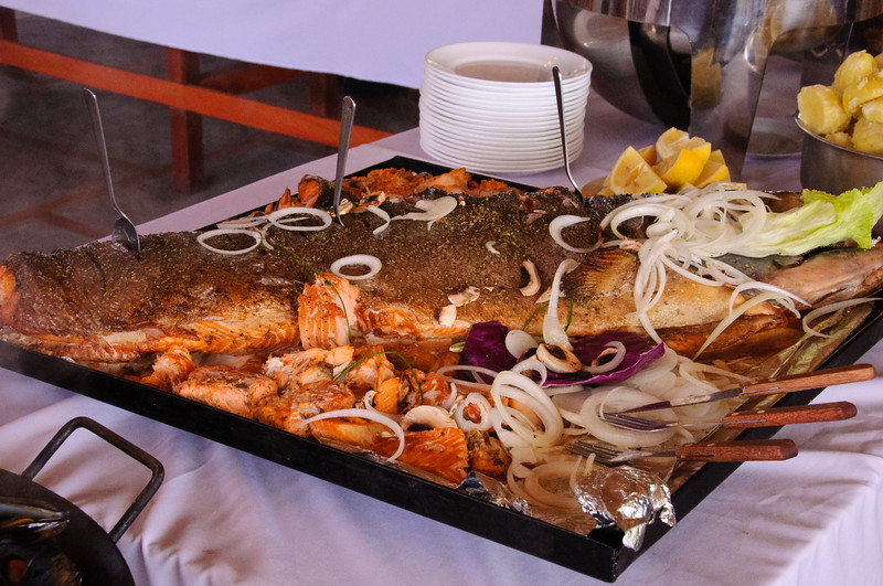 Local fare at Don Salmon Restaurant, near Puerto Montt, Chile