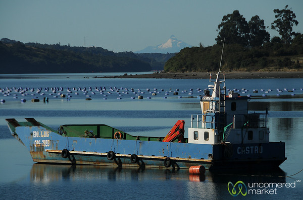 View of Mountains along Carretera Austral from Chiloe Island, Chile