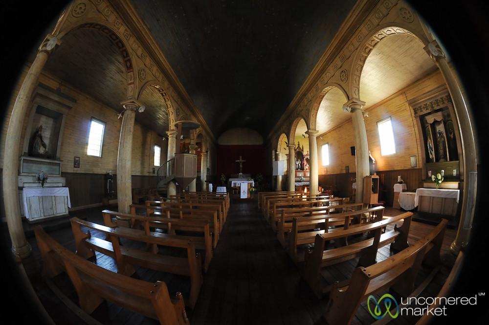 Inside Chonchi's Wooden Church - Chiloe Island, Chile
