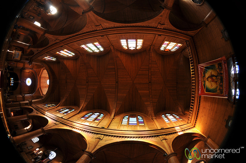 Fisheye View Inside Castro's Cathedral - Chiloe Island, Chile
