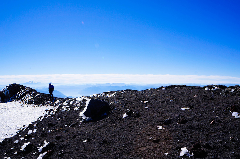 At the top of the Villarrica volcano in Chile