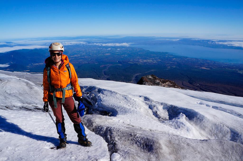 Me climbing the Villarrica volcano in Pucón, Chile