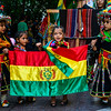 Girls carrying flag at Fiesta de la Chakana in Santiago de Chile.