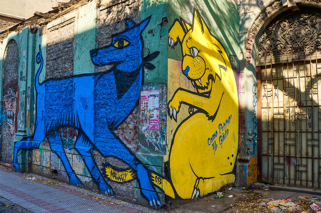 Mural by Malikazy in Santiago, Chile