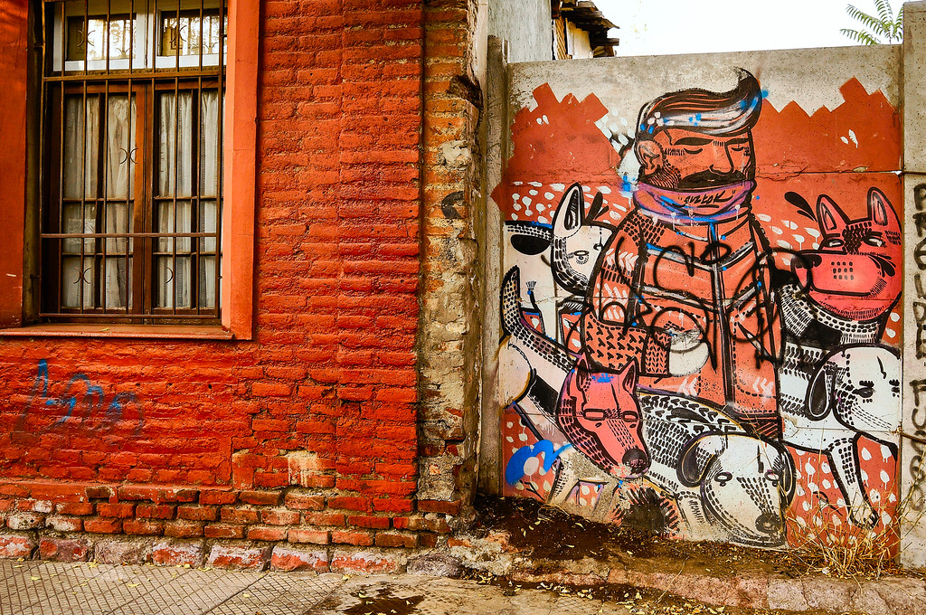 Mural by Gustok in Santiago, Chile