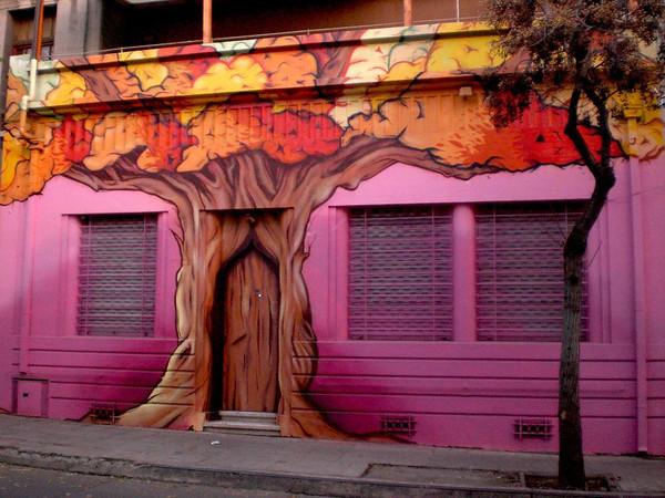 chile santiago pink building