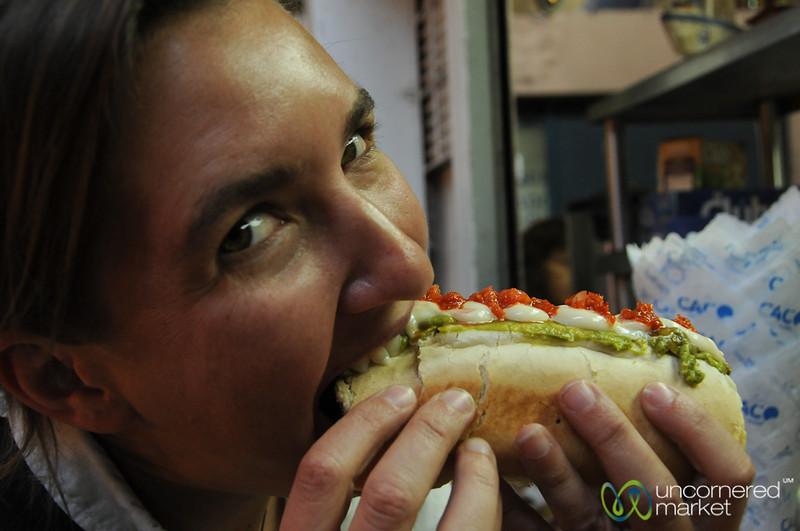 Audrey Enjoys a Completo Italiano - La Vega Market, Santiago