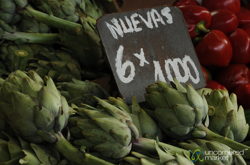Artichoke Piles at La Vega Market in Santiago, Chile