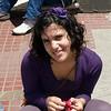 girl selling hair ribbons at San Thelmo market