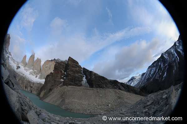 Fisheye View of the Torres at Torres del Paine National Park in Chile