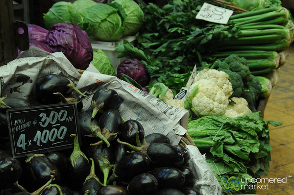 Aubergine and Greens - Valparaiso Market, Chile