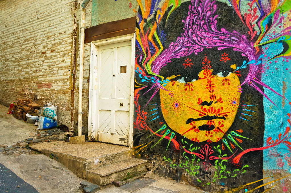 Street art in Valparaiso, Chile: Stinkfish