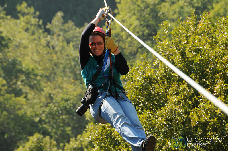 Margaret Zip Lines Through the Valley at La Montaña Winery