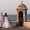 newlyweds on Cartagena city wall