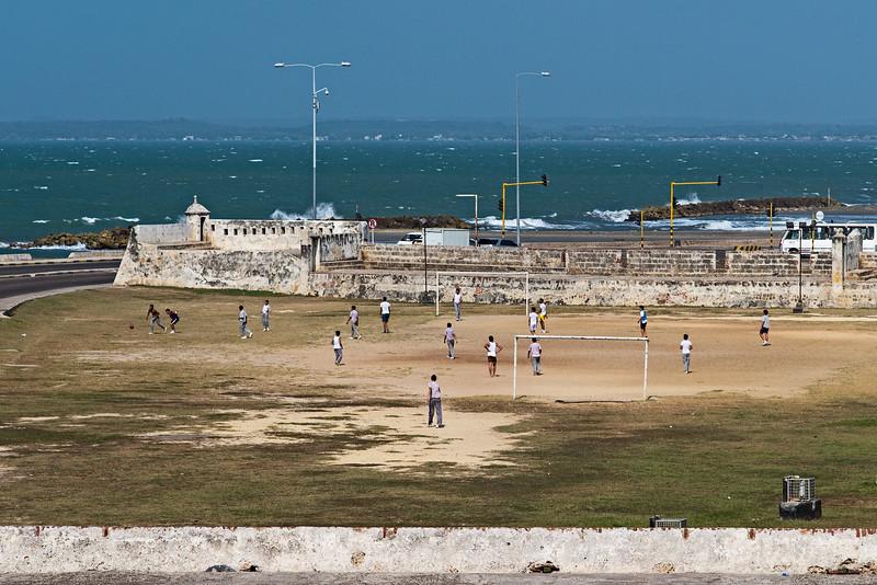 seaside soccer near city wall Cartagena