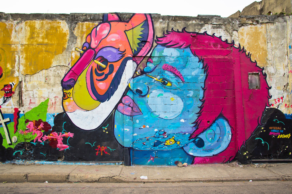 Mural by La Plaga in Cartagena, Colombia