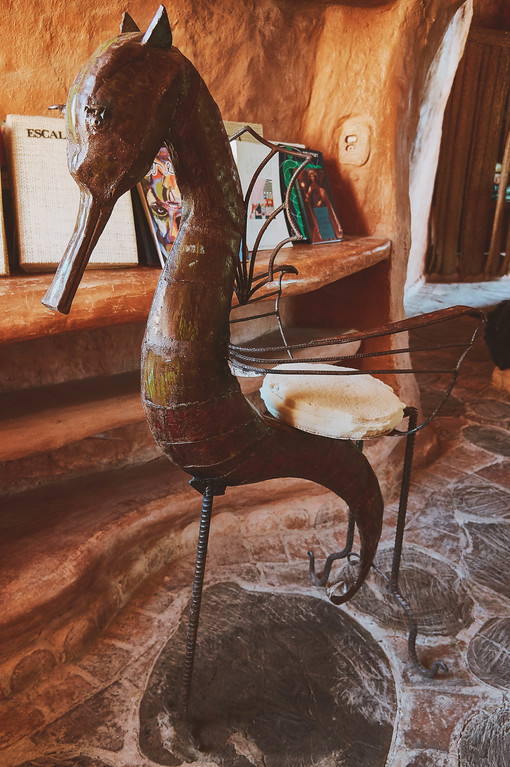 Seahorse chair in Casa Terracota in Villa de Leyva, Colombia.