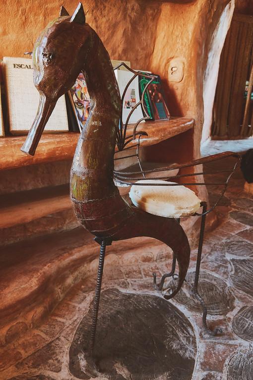 Seahorse chair in Casa Terracota in Villa de Leyva, Colombia.