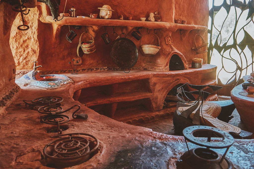 Kitchen in Casa Terracota in Villa de Leyva, Colombia.