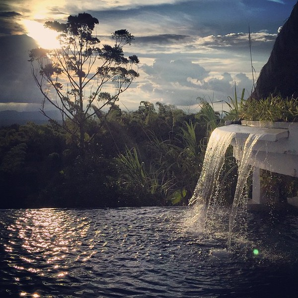 Day's end. A shot of the infinity pool, taken from the edge of the jacuzzi. We savored it all after a day of hiking and poking around the town of Salento. Hacienda Combia -- Calarca, Colombia. via Instagram http://ift.tt/1cfgwGg
