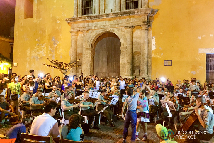 Colombian Police Orchestra Plays in Cartagena, Colombia