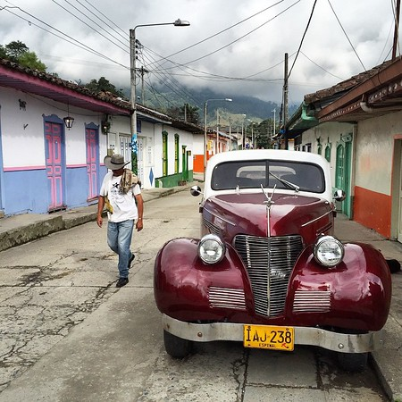 The back streets of Salento, Colombia. The colorful commercial epicenter of Colombian coffee country (Quindio department). Just about every door is brightly painted, billiard halls serve as community centers for old men, and terrific cups of coffee, including at renowned Jesus Martin, are in long supply. via Instagram http://ift.tt/1FN7iwR