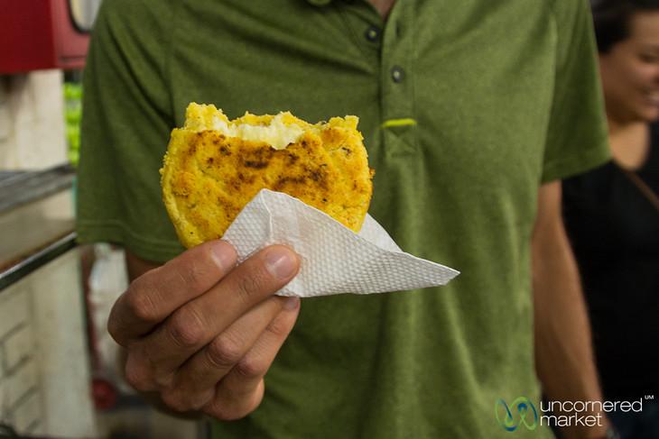 Cheese-Stuffed Arepa at Mercado Paloquemao - Bogota, Colombia